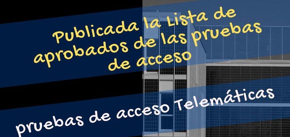 Pruebas de acceso telemáticas al CSMN. Curso 2020-2021.